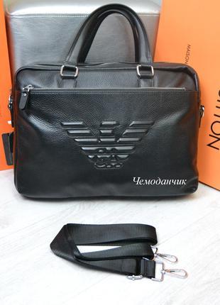 Мужская офисная кожаная сумка портфель Giorgio Armani Армани черн