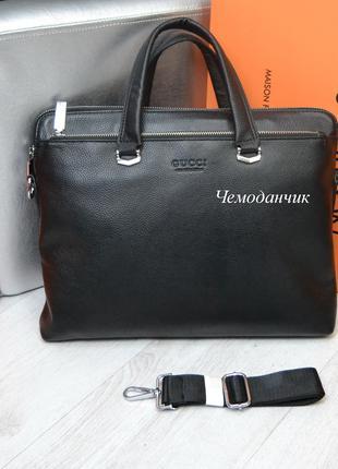 Мужская офисная кожаная брендовая сумка портфель GUCCI Гуччи черн