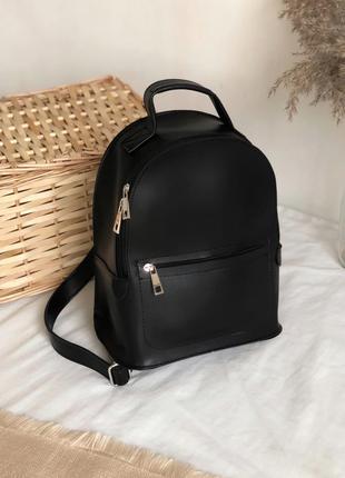 Минималистичный черный женский рюкзак