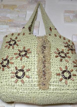 Вместительная пляжная сумка из натуральной соломки, бренд l.z