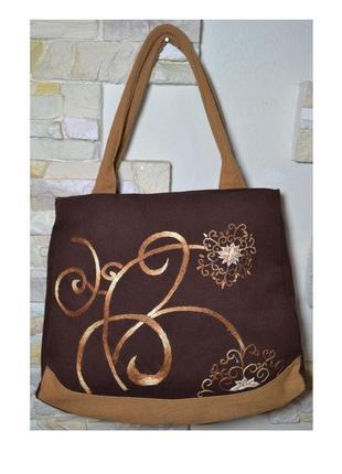 Оригинальная вместительная сумка, вышивка