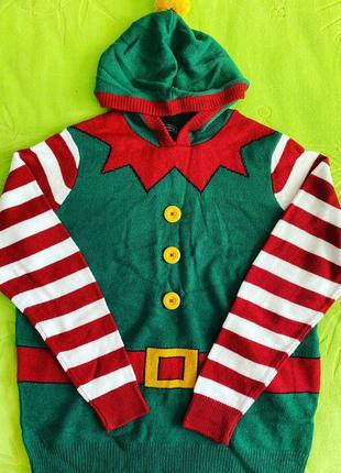 Новогодний свитер эльф avenue новорічний светр