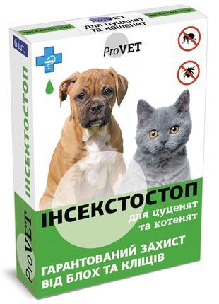 Капли на холку для кошек и собак ProVET Инсектостоп до 3 кг,6 шт