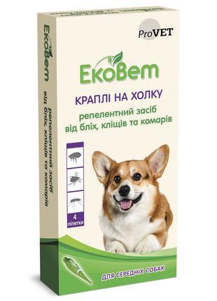 Капли на холку для собак средних пород ProVET «ЭкоВет», 4 пипетки
