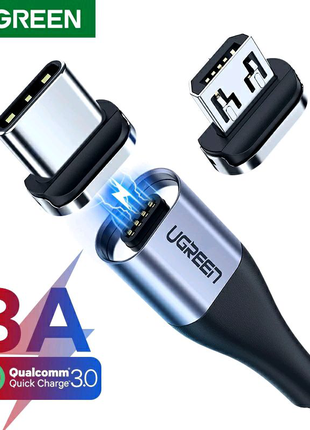 UGREEN Магнитный кабель.Быстрая зарядка USB Type C/Micro USB.