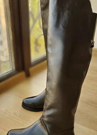 Зимние женские кожаные сапоги ботфорты