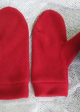 Варежки перчатки рукавицы флис ярко красные
