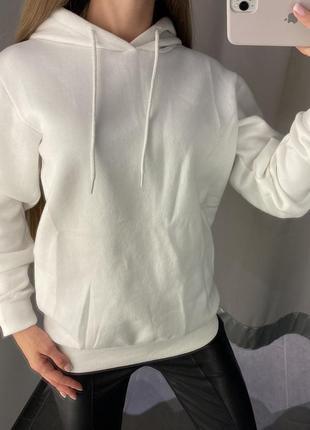 Базовое белое худи на флисе толстовка есть размеры