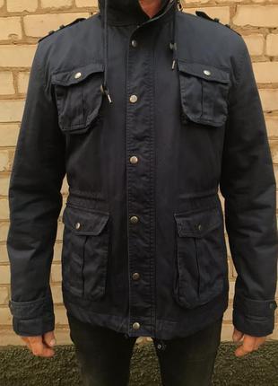 Стильная куртка пиджак плащ короткий мужская ветровка синяя с ...