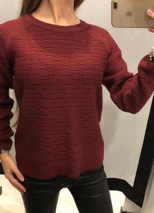 Бордовый мягкий свитер cropp размеры s и м