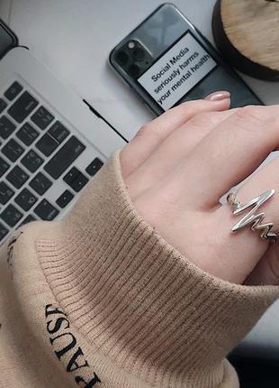 Кольцо серебро 925 колечко ритм сердца ак81401