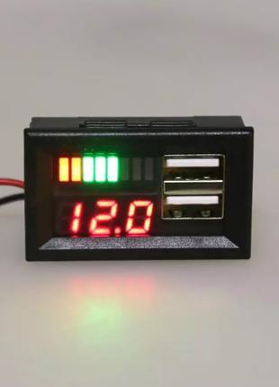 Вольтметр + зарядное 2хUSB (5V / 2.1A) - КРАСНЫЙ дисплей