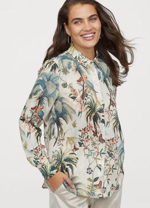 H&M блуза рубашка нарядная деловая в тропический принт  р.52-5...
