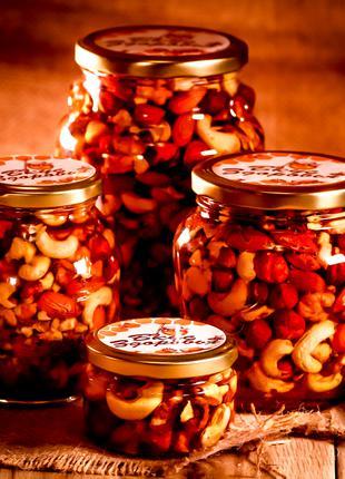 Микс орехов мёде/Орехи в мёде/Орехи в меду/ Асорти орехов в мёде