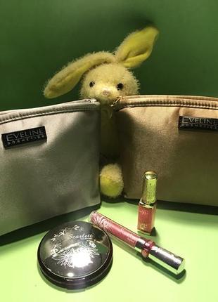 Подарочный набор: Косметички золото/серебро EVELINE+косметика