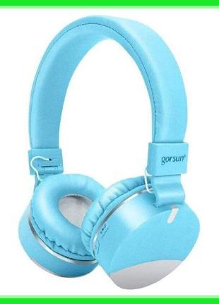 Беспроводные Bluetooth наушники Gorsun GS-E86 Micro SD Голубой...