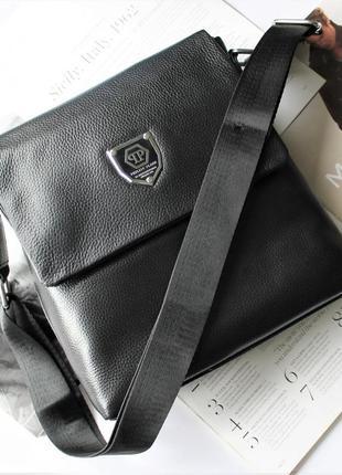 Мужская сумка philipp plein черная / кожа / мессенджер / барсетка