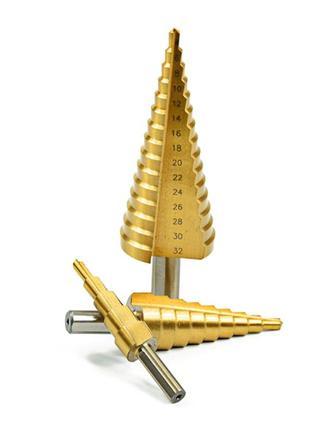 Сверла ступенчатые (по металлу) 4-12,4-20,4-32 С усиленным хвосто