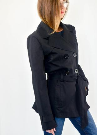 George черный короткий двубортный тренч (пальто, плащ) с поясом