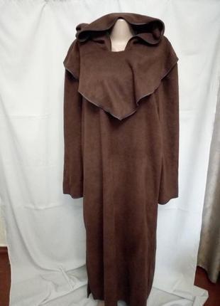 Мягкий флисовый халат, балахон, домашнее платье с капюшоном