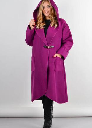 Размеры 54-64! стильное пальто кардиган кашемир фуксия, в разм...