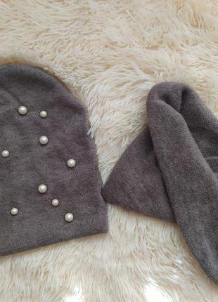 Комплект шапка и шарф весна/осень