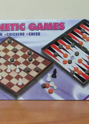 Магнитная игра Leon Шахматы, шашки, нарды 3в1 (9831)