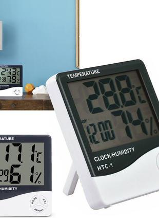 3 в 1 Часы Термометр Гигрометр с выносным датчиком HTC-2 (датчик