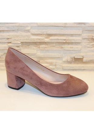 Стильные женские замшевые розовые туфли лодочки на устойчивом ...