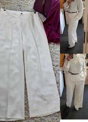 Шикарные широкие брюки/палацо молочного цвета, h&m, p. 14-16