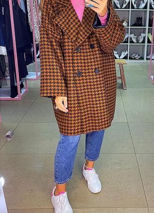 Кашемировое пальто оверсайз гусиная лапка. пальто осень-весна....