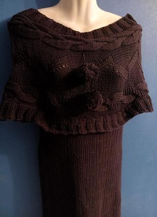 Платье вязаное из хлопка с митенками
