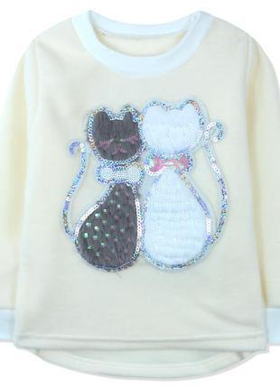 Утепленная кофта для девочки, толстовка, молочная. серый и бел...