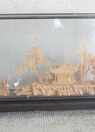 Китайская инсталляция в деревянной раме под стеклом 30 - 50 - е г