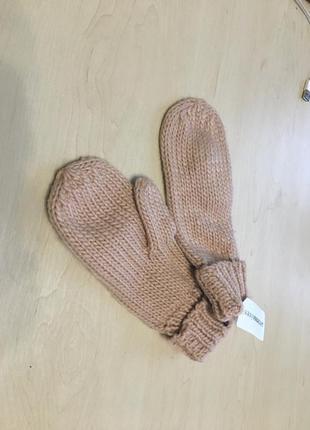 Женские, розовые, варежки, рукавицы, теплые, зимние