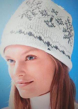 Шапка, женская, на флисе, теплая, вязаная, зимняя, белая, tcm ...