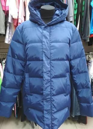 Мужской пуховик, лёгкий, зимний, тёплый, синий, с капюшоном, п...