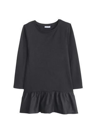 Платье, детское, черное, с оборкой, pepperts, 134, 140