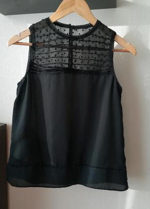 Легкая черная блуза, майка с прозрачным верхом