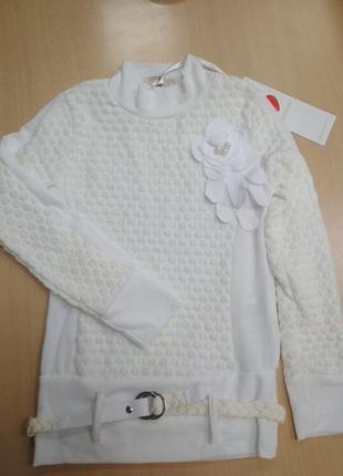 Свитер, гольф, белый, кофта, на девочку, marions, размер 134