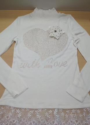 Гольф, лонгслив, белый, кофта, блузка, на девочку, marions, ро...