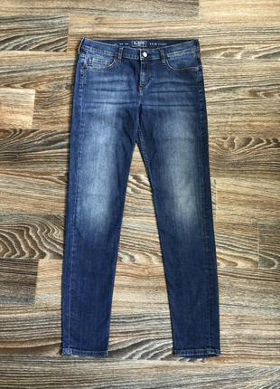 Синие хлопковые джинсы скинни джинсовые штаны (плотно обтягива...