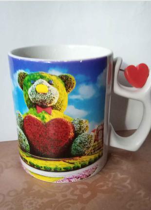 Чашка с сердечком и мишкой для любимых