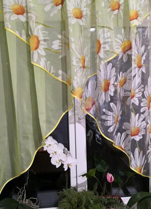 Занавеска штора тюль два угла ромашки