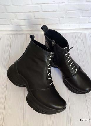 Модные кожаные женские ботинки vlnt 1503 чк