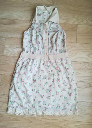 Классное летнее платье, сарафан с открытой спинкой, в цветы
