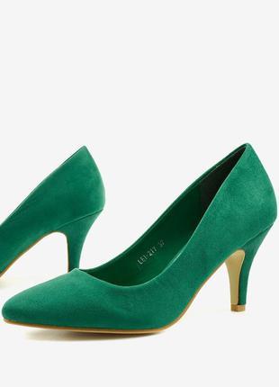 Зелені класичні туфлі замшеві x8053