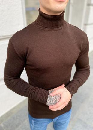 Гольф водолазка мужской коричневый цвет