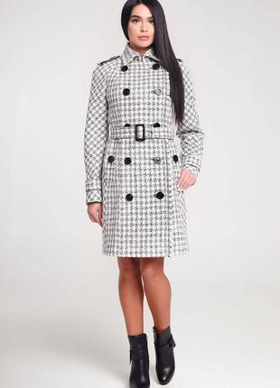 Пальто демисезонное клетчатое с люрексом