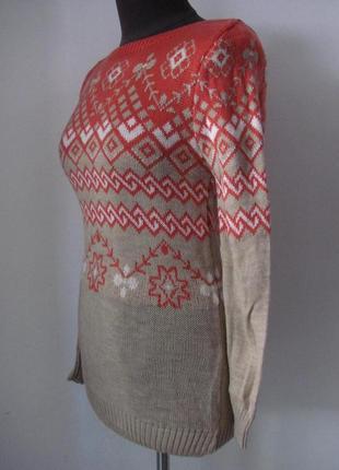 Свитер вязанный орнамент, двойная вязка, теплый для зимы, код ...